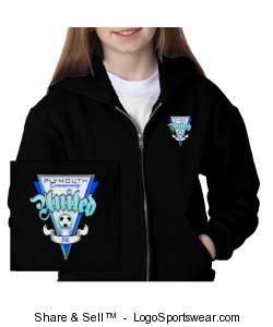 Heavyweight Youth Full-Zip Hooded Sweatshirt Design Zoom